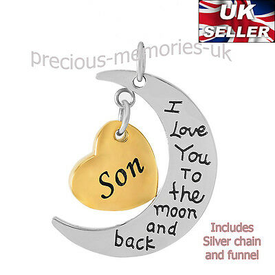 Son Moon Heart Cremation Ashes Necklace - Funeral Jewellery Memorial Urn Pendant