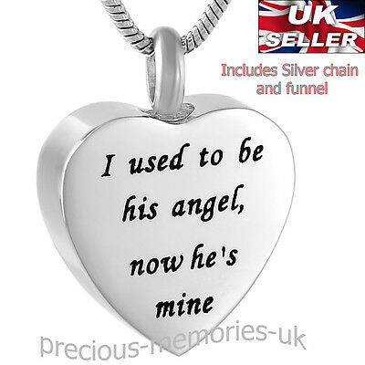 Angel Heart Cremation Ashes Necklace - Funeral Memorial Jewellery - Urn Pendant