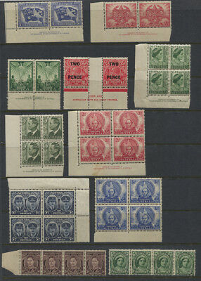 Australia 1940's-50's MH / MNH Blocks, Imprint Blocks, Strips CV $77+