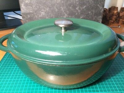 Large Oval Green Enamelled Cast Iron Casserole Dish & Lid 29cm Made In France