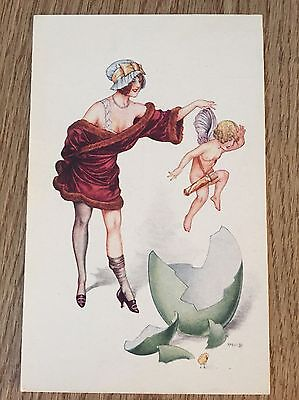 Postcard No 2637 Herouard Risque glamour lady with cupid brocken egg