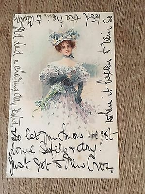Postcard Meissner and Buch glamour lady with hat