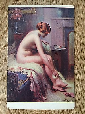 Postcard nude glamour lady After the Tub by A Paris