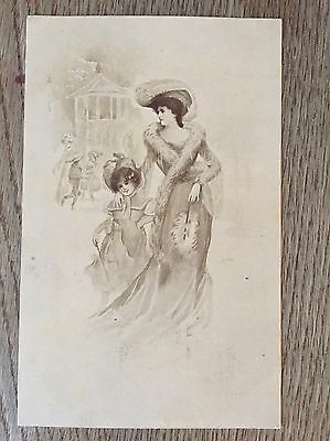 Postcard by Dess glamour lady with fur coat and child