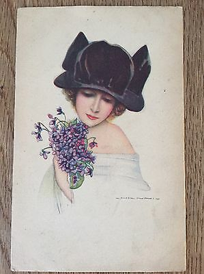 Postcard by Nanni glamour lady with large hat