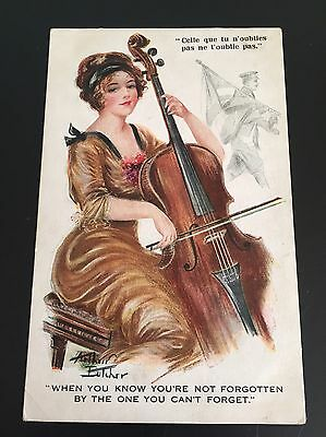 Postcard Arthur Butcher Glamour Lady cello. Thinking of soldier  By Red Lion