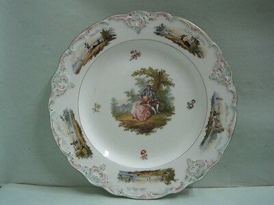 Antique Meissen Porcelain Dish with couple under a tree hand painted