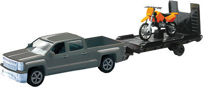 NewRay 1:43 Scale Truck With Trailer and Bike Grey Chevy Truck with Orange bike