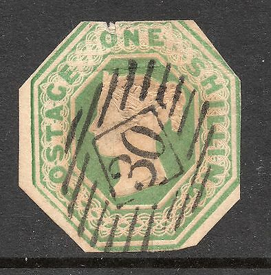 GB VICTORIA 1847 1s Green EMBOSSED Stamp Cut to Size REF:WX3a