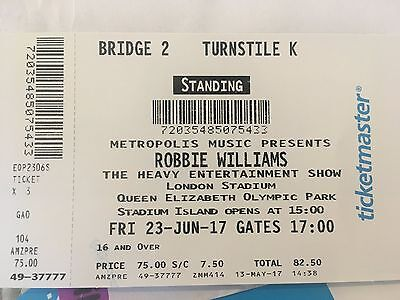 1 X Robbie Williams Standing Tickets London Friday 23rd June 2016
