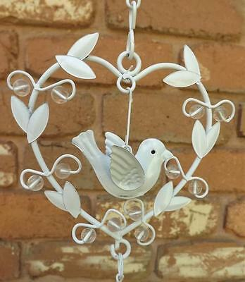 Heart & Hanging Dove Metal Laser  Cut Design White  Wind Chime*/mobile  Bell*new