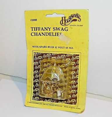 Dollhouse Miniatures Housework's Vintage 1/12 Electric Tiffany Swag Chandelier