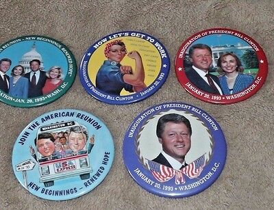 lot of collectible Hillary and Bill Clinton political button pin backs.