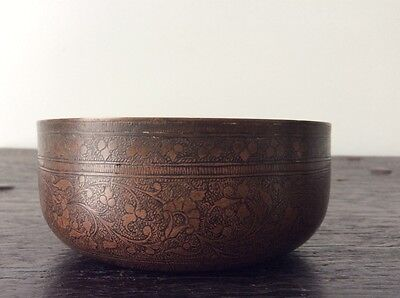 Antique Asian Chased Bronze Bowl / Chinese / Persian