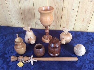 Mixed Collection of Wooden Treen Items - Goblet/Perfume Bottle/Spinning Top etc