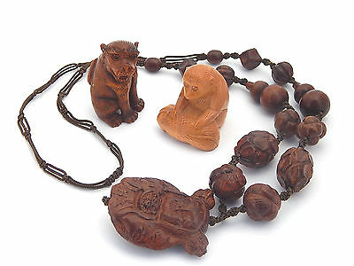 Collection 3 Antique Vintage Japanese Carved Wood Netsuke Meiji or later