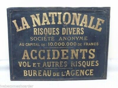 Vintage Antique French Insurance Advertising Sign