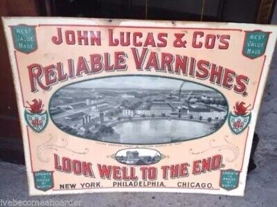 Vintage Antique Advertising Sign Lucas Reliable Varnishes New York Philadelphia