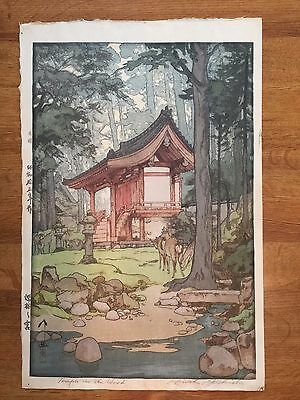 Hiroshi Yoshida Woodblock Signed and Titled Temple in the Wood