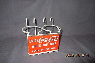 """Enjoy Coca Cola While You Shop"" Metal Bottle Holder/Sign Advertising 1950/60s"
