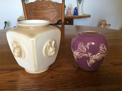 Two Pottery French Bulldog Vases