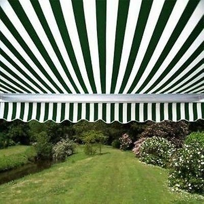 ALEKO Retractable Patio Awning 13 X 8 Ft Deck Sunshade Green and White Stripe