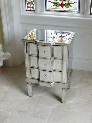 2 x Venetian Mirrored 3 Drawer Bedside Chest Of Drawers