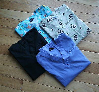 Denver Hayes Womens Scrub Tops Medical Patterned & Plain Lot of 4 Small & XS