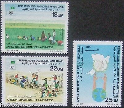 Mauritania 1986 Sc 593-595 MNH - International Youth Year - combined postage