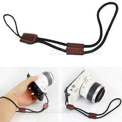 Security Nylon Hand Wrist strap with Leather For Fuji Pentax Samsung Sony GE