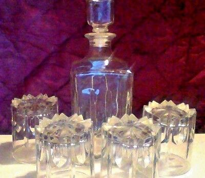 glass decanter and 4 glasses