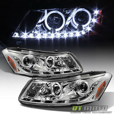 08-12 Honda Accord 4Dr Halo Projector Headlights w/Daytime DRL Led Running Light