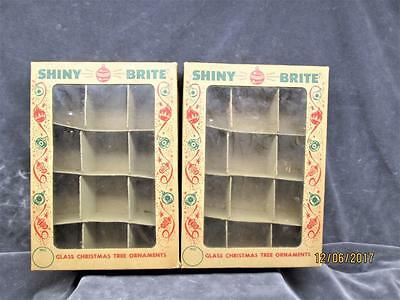 2 Vintage Shiny Brite Empty Boxes For Small Christmas Ornaments