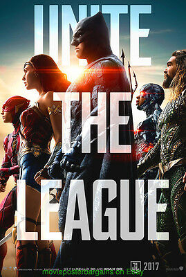 JUSTICE LEAGUE MOVIE POSTER Original DS 27x40 First Advance Style 2017