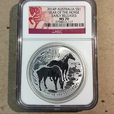 2014P Australia Year Of The Horse Early Releases 1 Oz 999 Silver  Ngc Ms70