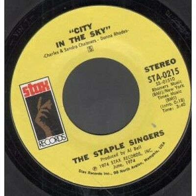 """STAPLE SINGERS City In The Sky 7"""" VINYL US Stax 1974 B/w That's What Friends"""