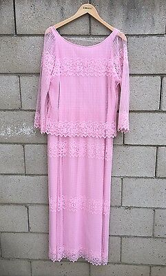 Vintage Long Pink Lace Dress Mother Of The Bride Pink Sheer Rustic Chic