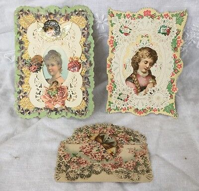 Set Of Three Antique Victorian Lace Valentines Day Cards