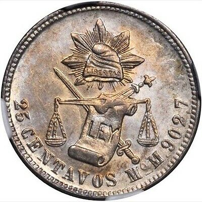 "MEXICO CITY MINT 1885-MoM 25 CENTAVOS ""BALANCE SCALE"" COIN UNCIRCULATED NGC MS64"