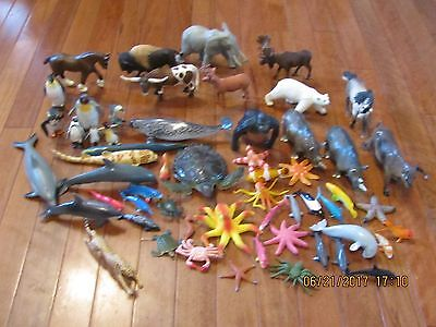 Lot Of 50+ Plastic Wild Animals And Sea Creatures Used