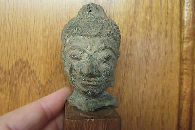 Thailand Thai Ayutthaya Style Bronze Head of Buddha 16/17th Century Great Patina
