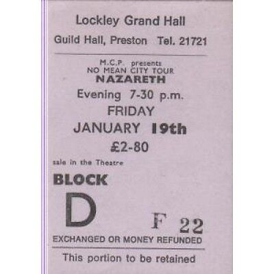 NAZARETH Lockley Grand Hall 19Th January TICKET UK Mcp Used Ticket For Gig At