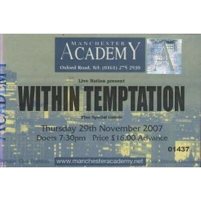 WITHIN TEMPTATION Manchester Academy 29Th November 2007 TICKET UK Live Nation