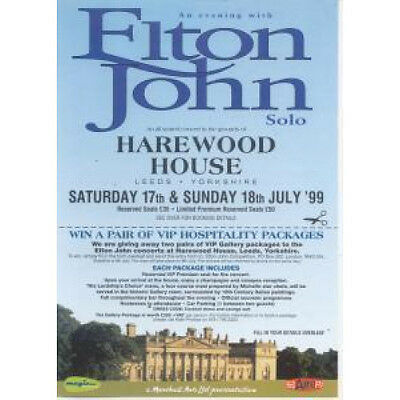 ELTON JOHN An Evening With FLYER UK Cancelled Harewood House Leeds Concert Flyer