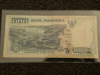 Indonesia 1000 ruppee banknote 1992, Lake Toba