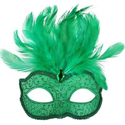 Masquerade Mask Venetian Style Party/fancy Dress Green With Feathers