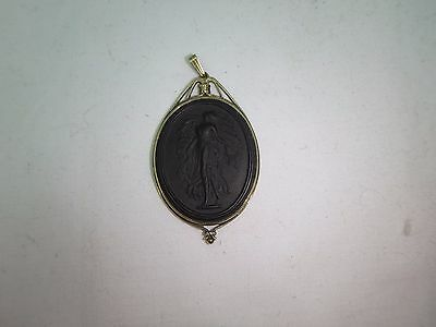 Antique Wedgwood Black Basalt Jasperware Goddess Oval Pendant England