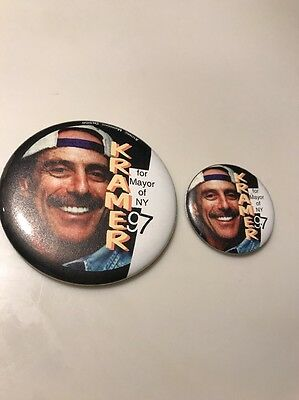 Kramer For Mayor Of NY 97 Political Campaign Buttons Signed Qty-2 No COA Lot 120
