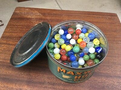 Vintage Maxwell House Coffee Tin Can 2/3 Full Of Vintage Marbles