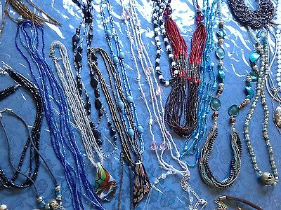 Huge junk drawer glass necklace lot tons multistrand - earrings  over 120
